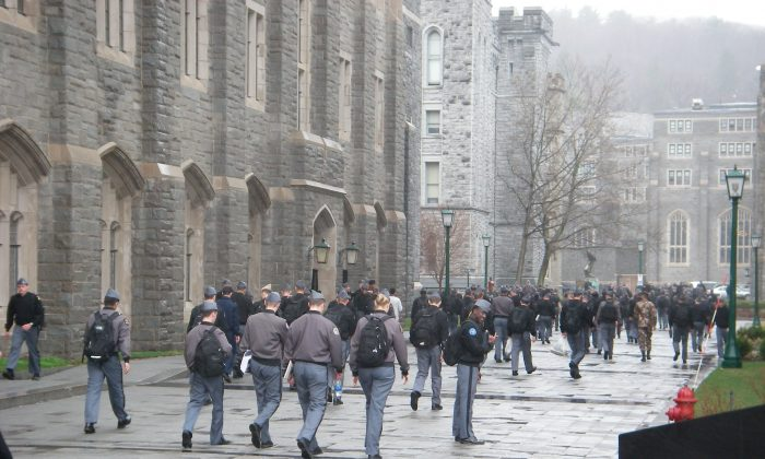 Cadets changing class at the U.S. Military Academy at West Point, N.Y. (Vincent J. Bove)