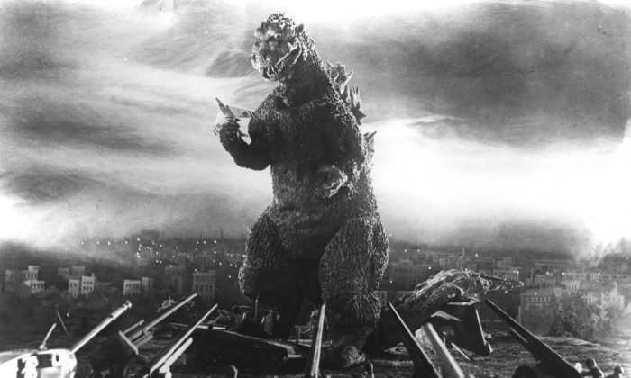 """Godzilla, rendered using """"suitmation,"""" is still plenty frightening 60 years later. (Courtesy of Rialto Pictures/Toho Co. Ltd.)"""