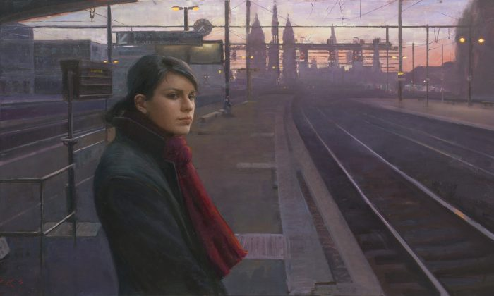 """""""Last Train Home,"""" 2012, by Tony Pro. Oil on linen. (Courtesy of Art Renewal Center)"""
