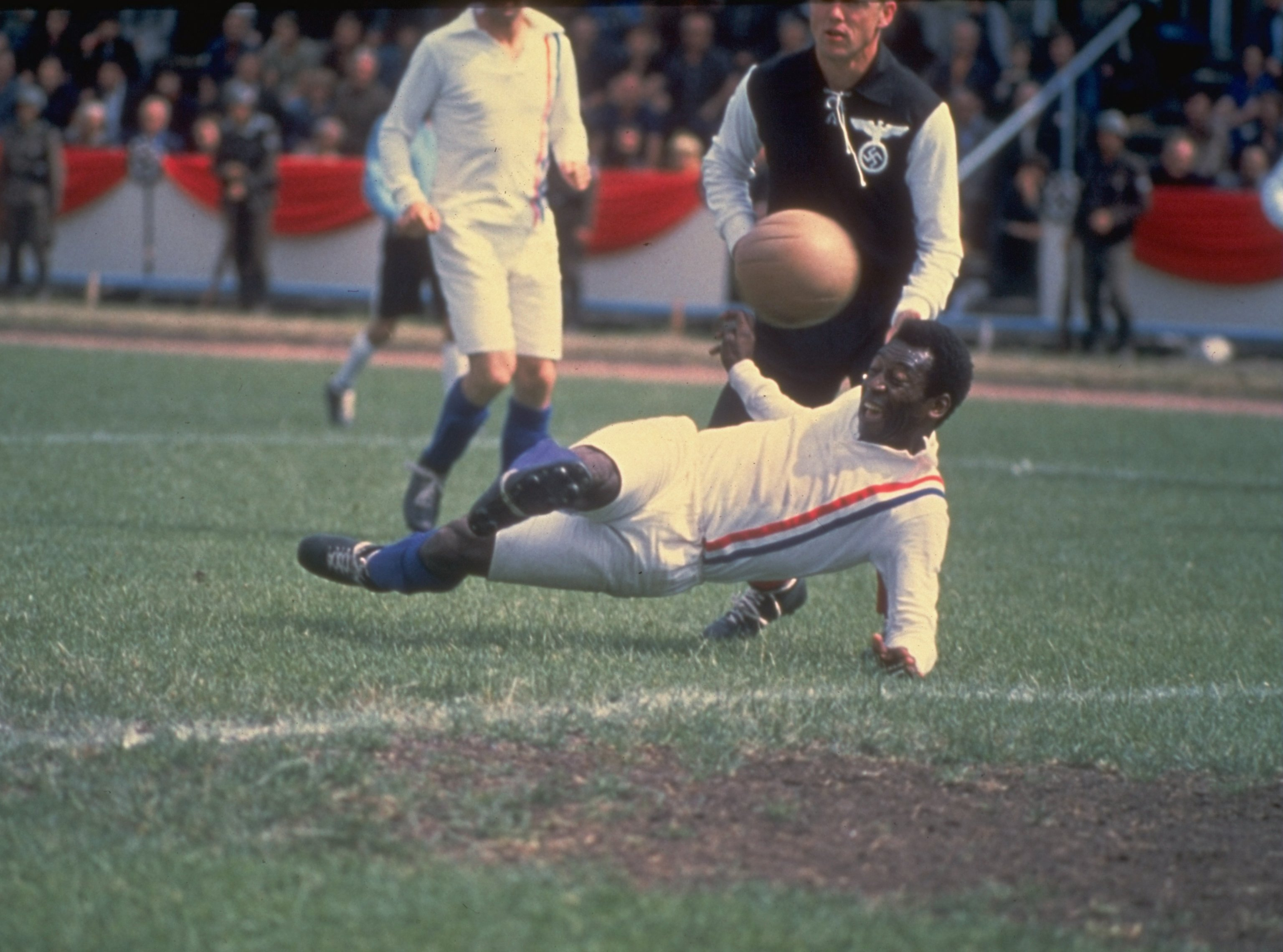 """Pele of Brazil scores the equalizing goal for the Allied POW's during the match against Germany in Paris featured in the filming of ''Escape to Victory"""" in 1982. (Allsport UK /Allsport)"""