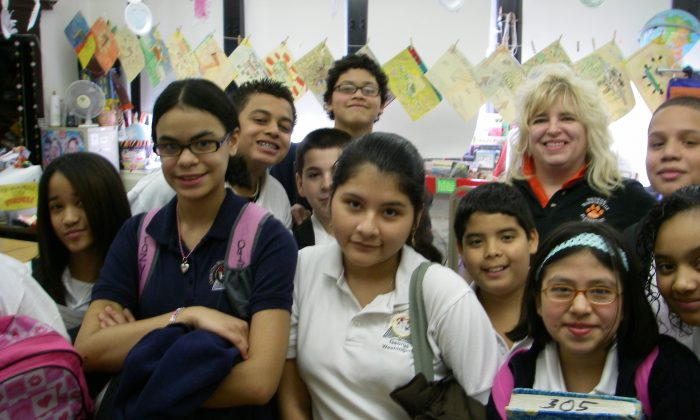 Union City Public Schools students with their teacher on Feb. 27, 2009. (Vincent J. Bove)