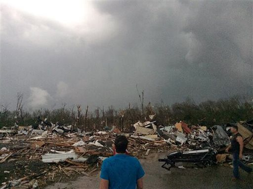 A massive tornado struck Mayflower, Arkansas, on Sunday evening, according to reports. This photo provided by James Bryant shows tornado damage, Sunday, April 27, 2014 in Mayflower, Ark. A powerful storm system rumbled through the central and southern United States on Sunday, spawning several tornadoes, including one that killed two people in a small northeastern Oklahoma city and another that carved a path of destruction through several northern suburbs of Little Rock, Ark. (AP Photo/Courtesy of James Bryant) MANDATORY CREDIT