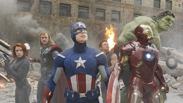The Hulk, Captain America, Thor, Iron Man, Black Widow, and Hawkeye are seen in this still from the first Avengers film. (Courtesy of Walt Disney)