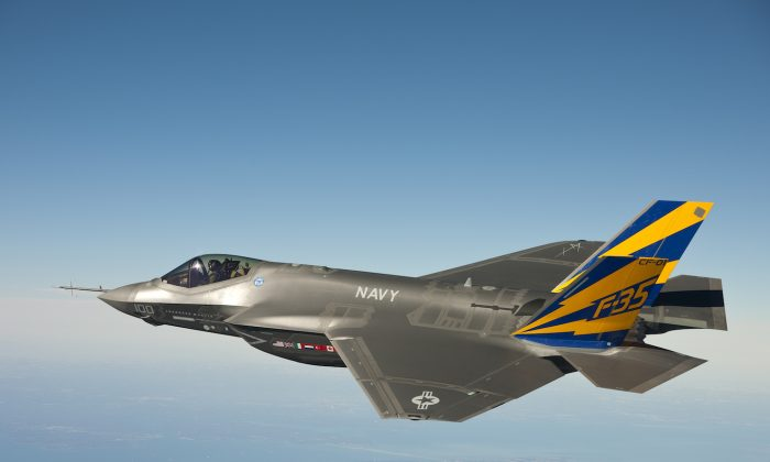 The U.S. Navy variant of the F-35 Joint Strike Fighter, the F-35C, conducts a test flight February 11, 2011 over the Chesapeake Bay. Lt. Cmdr. (Lockheed Martin/Getty Images)