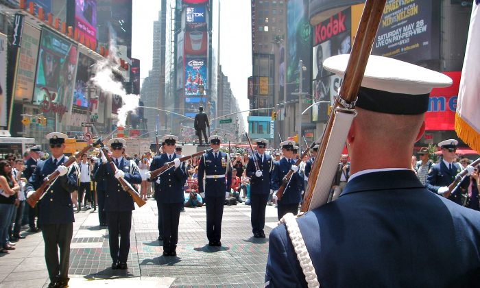 U.S. Coast Guard honor guard at Times Square on Memorial Day 2011. (Vincent J. Bove)