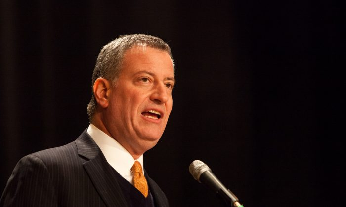 Mayor Bill de Blasio. (Petr Svab/Epoch Times)