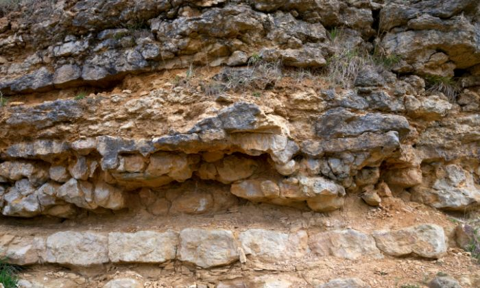 A file photo of a limestone rock formation. An 18th century discovery of man-made objects under layers of limestone is evidence, some say, that humans existed on earth hundreds of millions of years ago and even had an advanced civilization.