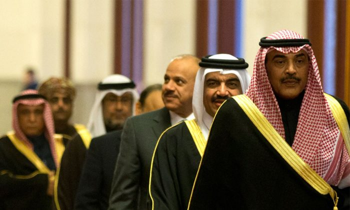 Kuwaiti Foreign Minister Sheikh Sabah Khaled al-Hamad Al-Sabah (front) leads a group of senior officials of the Gulf Cooperation Council (GCC). (Alexander F. Yuan-Pool/Getty Images)