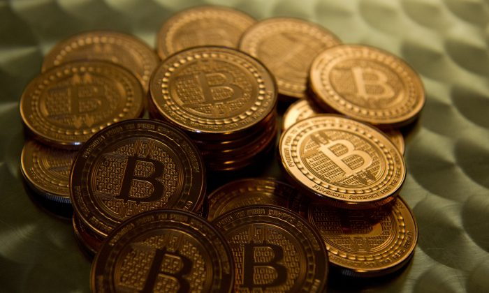This May 1, 2014 photo taken in Washington, DC shows bitcoin medals.(KAREN BLEIER/AFP/Getty Images)