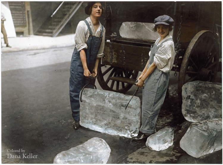 Girls help deliver ice on Sept. 16, 1918—work usually done by men—to help out during WWI, colorized by Dana Keller.