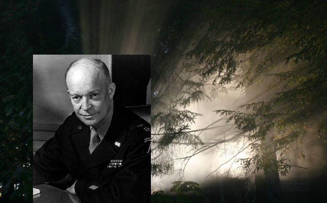 Left: Former U.S. President Dwight Eisenhower. (Wikimedia Commons) Background: A concept photo of light from an alien spaceship.  Phil Schneider, who said he worked as a geologist and engineer on highly classified operations for the U.S. government, said Eisenhower made a pact with extraterrestrials. (Thinkstock)