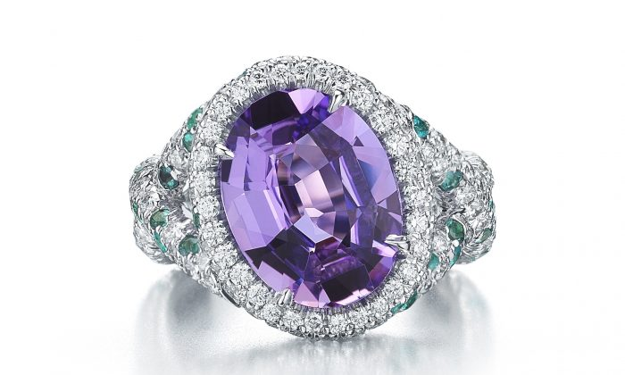 Oval-shaped purple-pink sapphire weighing 5.58 carats set in 18-karat white gold, further enhanced with pave-set round brilliant diamonds and Paraiba-type tourmaline. (Courtesy of Paolo Costagli)