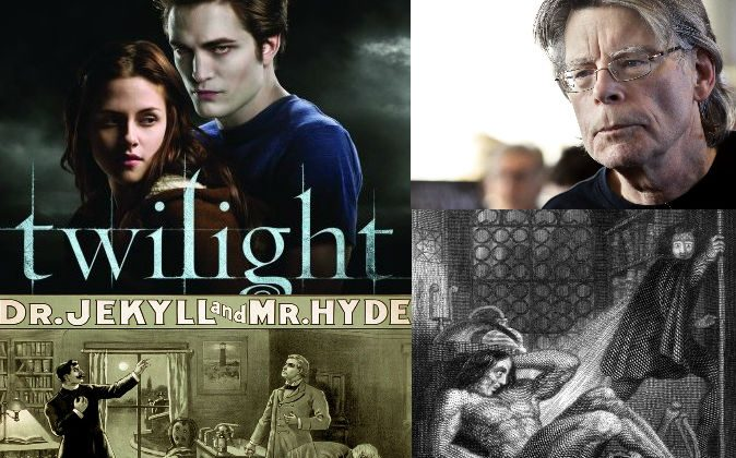 "Top left: A poster for the movie ""Twilight."" (Magesomido via Compfight cc) Top right: Stephen King (Kenzo Tribouillard/AFP/Getty Images). Bottom left: A poster for ""The Strange Case of Dr. Jekyll and Mr. Hyde."" (Wikimedia Commons) Bottom right:  Engraving for the frontispiece to the revised edition of ""Frankenstein"" by Mary Shelley. (Wikimedia Commons)"