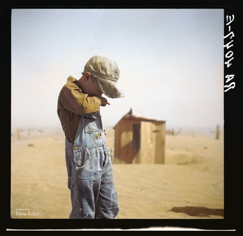 A boy protects his face from dust in Cimarron County, Okla., in 1936., colorized by Dana Keller