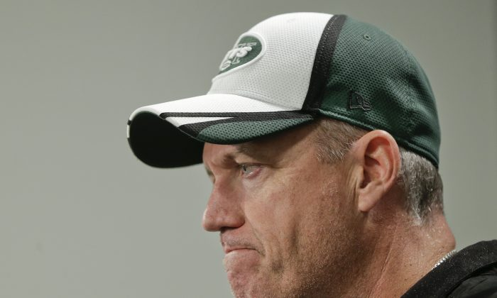 New York Jets head coach Rex Ryan answers questions during a news conference at the team's NFL football rookie camp, Friday, May 16, 2014, in Florham Park, N.J. (AP Photo/Julie Jacobson)
