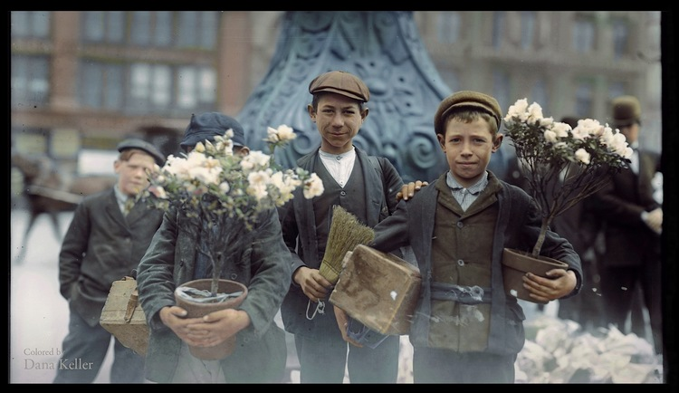 Boys buying Easter flowers in Union Square, New York City, 1908, colorized by Dana Keller.