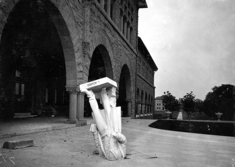 Damage done by the earthquake in San Francisco on April 18, 1906. At Stanford University, a statue of Louis Agassiz fell 30 feet and pierced the concrete.