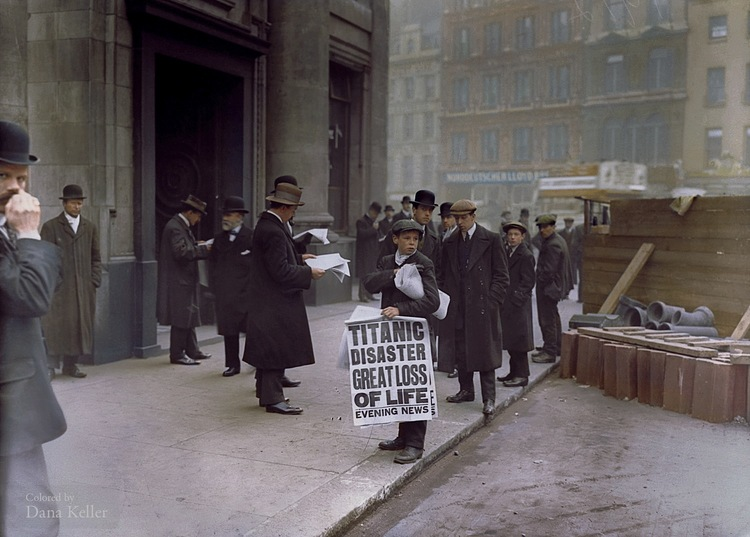 Ned Parfett selling copies of a newspaper with the news that the Titanic sank, colorized by Dana Keller.