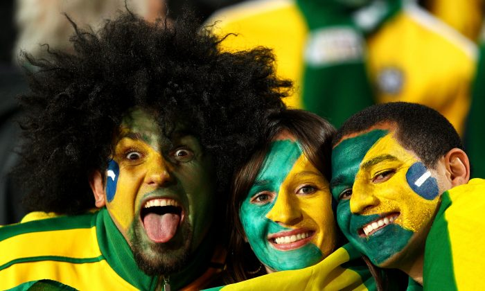 Brazil fans enjoy the atmosphere ahead of the 2010 FIFA World Cup South Africa Round of Sixteen match between Brazil and Chile at Ellis Park Stadium on June 28, 2010 in Johannesburg, South Africa. (Richard Heathcote/Getty Images)