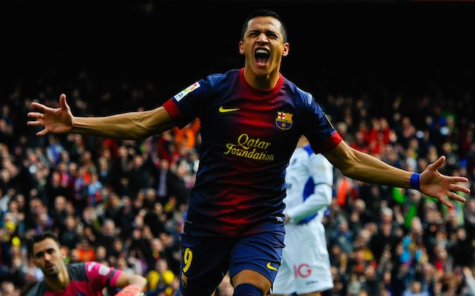 Alexis Sanchez of FC Barcelona celebrates after scoring the opening goal during the La Liga match between FC Barcelona and Getafe CF at Camp Nou on February 10, 2013 in Barcelona, Spain. (David Ramos/Getty Images)