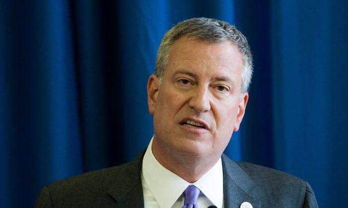 Mayor Bill de Blasio. (Petr Svab/Epoch Times)