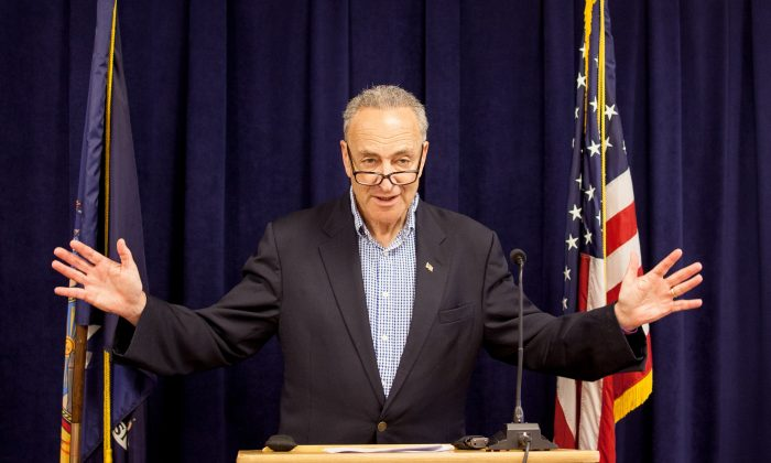 Senator Charles Schumer announces support for a veteran healthcare bill during a press conference in his Manhattan office on Sunday. (Petr Svab/Epoch Times)