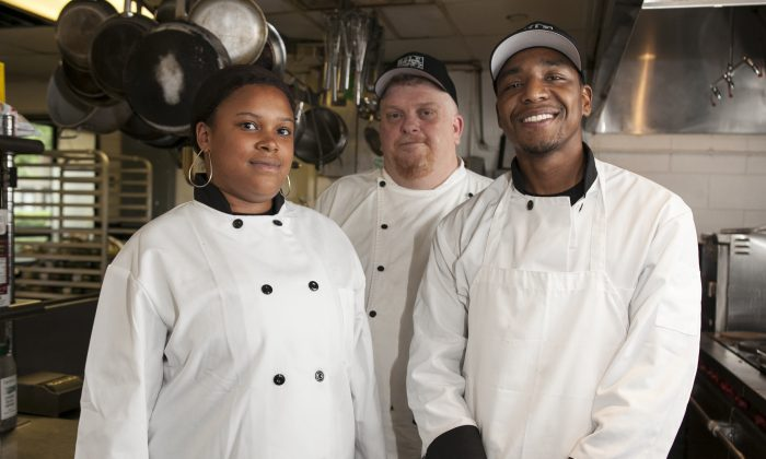 (L-R) Culinary student Katrina Green, Culinary Arts Education Director Daniel Maguire, and culinary student Evan Hill at the HELP Supportive Employment Center. (Samira Bouaou/Epoch Times)