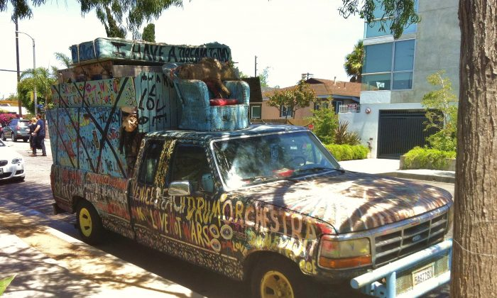A truck that has been converted into a home is parked on the streets of Venice, Calif., on June 20, 2014. (Sarah Le/Epoch Times)