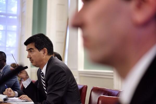 Council Member Ydanis Rodriguez during a hearing on alternate side parking at City Hall in New York City on June 30. (Ivan Pentchoukov/Epoch Times)