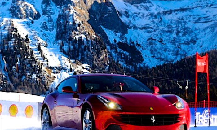 Ferrari driver Spanish Fernando Alonso steers a Ferrari FF on a ski track on January 11, 2012 during the Vrooom 2012, F1 and MotoGP Press Ski Meeting Ducati and Ferrari annual media gathering in the Italian ski resort of Madonna di Campiglio. (Vincenzo Pinto/AFP/Getty Images)