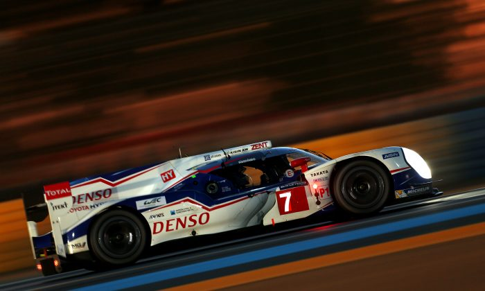Kaz Nakajima in the #7 Toyota TS 040-Hybrid won the pole for the 82nd Le Mans 24 with a lap of 3:21.789 at an average speed of 151.05 mph. (ToyotaHybridRacing.com)