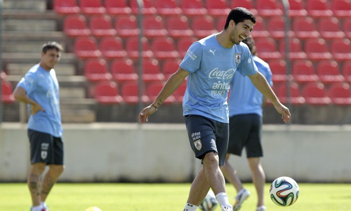 Luis Suarez, front, and Cristian Rodriguez, behind left, of a Uruguay's national team, train at Arena do Jacare Stadium, for the Brazil 2014 World Cup in Sete Lagoas, Brazil, Saturday, June 21, 2014. Uruguay plays in group D at the 2014 soccer World Cup. (AP Photo/Bruno Magalhaes)