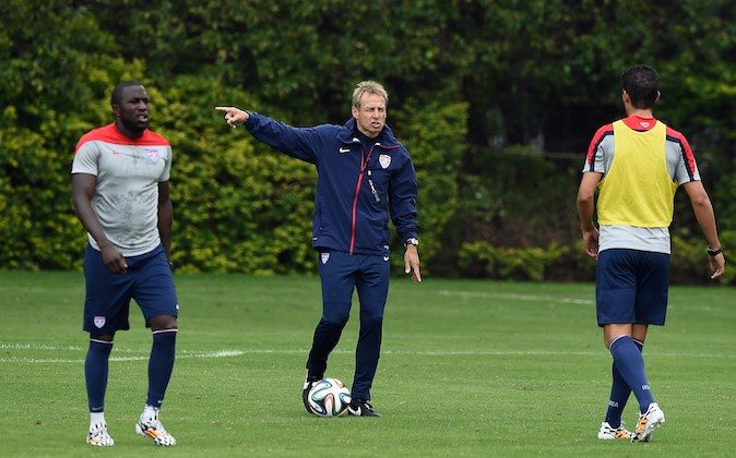 US German coach Juergen Klinsmann (C) oversees a training session in Sao Paulo on June 11, 2014, ahead of the 2014 FIFA World Cup in Brazil. (JEWEL SAMAD/AFP/Getty Images)