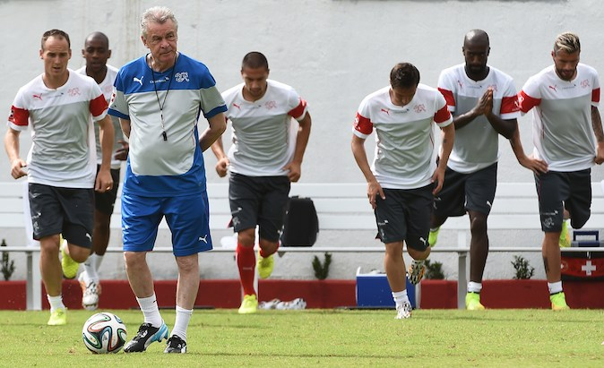 Switzerland's German coach Ottmar Hitzfeld oversees a training session on June 13, 2014 at the Municipal Stadium in Porto Seguro, during the 2014 FIFA World Cup in Brazil. (ANNE-CHRISTINE POUJOULAT/AFP/Getty Images)
