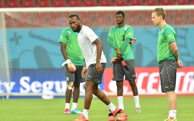 Ivory Coast's forward and captain Didier Drogba takes part in a training session in Recife, on June 13, 2014, on the eve of their 2014 FIFA World Cup group C match against Japan. (ISSOUF SANOGO/AFP/Getty Images)
