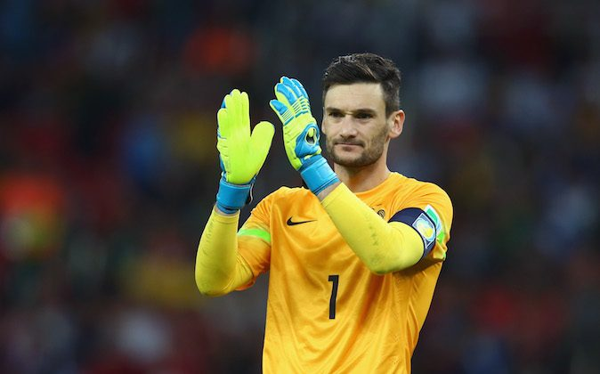 Hugo Lloris of France acknowledges the fans after defeating Honduras 3-0 during the 2014 FIFA World Cup Brazil Group E match between France and Honduras at Estadio Beira-Rio on June 15, 2014 in Porto Alegre, Brazil. (Jeff Gross/Getty Images)