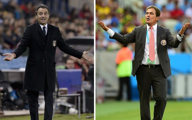 Italian head coach Cesare Prandelli (L) gesturing during the FIFA 2014 World Cup friendly football match Spain vs Italy at the Vicente Calderon stadium in Madrid on March 5, 2014 and Costa Rica's Colombian coach Jorge Luis Pinto (R) celebrating during a Group D football match between Uruguay and Costa Rica at the Castelao Stadium in Fortaleza during the 2014 FIFA World Cup on June 14, 2014. (DANI POZO/AFP/Getty Images)
