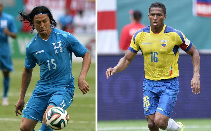 Honduras midfielder Roger Espinoza (L) playing with the ball during the friendly match between England and Honduras at Miami Sun Life Stadium in Miami Gardens, Florida on June 7, 2014 and Ecuador midfielder Antonio Valencia (R) preparing to kick the ball during the friendly match between England and Ecuador at Miami Sun Life Stadium in Miami Gardens, Florida on June 4, 2014. (MLADEN ANTONOV/AFP/Getty Images)