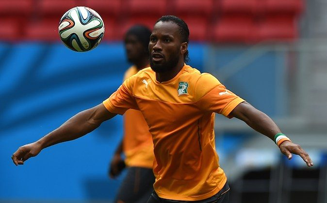 Ivory Coast's forward Didier Drogba takes part in a training session at The Mane Garrincha National Stadium in Brasilia on June 18, 2014, on the eve of a Group C match against Ivory Coast during the 2014 FIFA World Cup. (EITAN ABRAMOVICH/AFP/Getty Images)