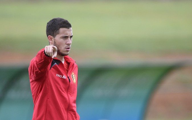 Belgium's midfielder Eden Hazard takes part in a training session during the 2014 FIFA World Cup football tournament in Mogi das Cruzes on June 19, 2014. (MARTIN BUREAU/AFP/Getty Images)