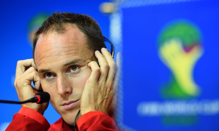 Switzerland's defender Steve von Bergen attends a press conference at the Fonte Nova Arena in Salvador on June 19, 2014, on the eve of their 2014 FIFA World Cup Group E football match against France. (ANNE-CHRISTINE POUJOULAT/AFP/Getty Images)