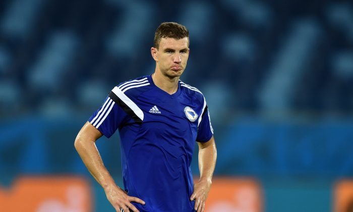 Bosnia-Herzegovina's forward Edin Dzeko takes part in a training session at the Pantanal Arena in Cuiaba on June 20, 2014, on the eve of their 2014 FIFA World Cup Group F football match against Nigeria. (JEWEL SAMAD/AFP/Getty Images)