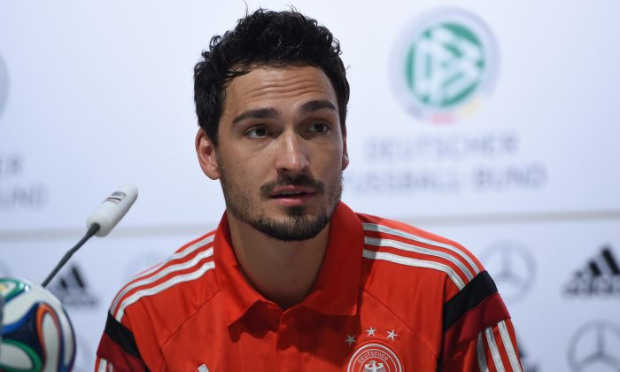 Germany's defender Mats Hummels answers questions during a press conference in Santo Andre on June 23, 2014 ahead of the 2014 FIFA Football World Cup. (PATRIK STOLLARZ/AFP/Getty Images)