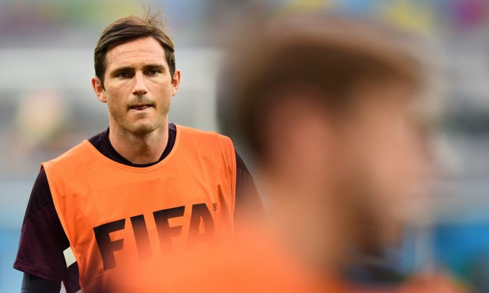 England's midfielder Frank Lampard takes part in a training session at the Mineirao Stadium in Belo Horizonte on June 23, 2014, on the eve of the 2014 FIFA World Cup Group D football match between Costa Rica and England. (BEN STANSALL/AFP/Getty Images)
