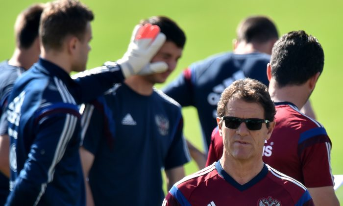 Russia's Italian coach Fabio Capello takes part a training session at the Estadio Novelli Jr in Itu on June 24, 2014, during the 2014 FIFA World Cup football tournament. (KIRILL KUDRYAVTSEV/AFP/Getty Images)