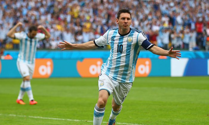 Lionel Messi of Argentina celebrates scoring his team's first goal during the 2014 FIFA World Cup Brazil Group F match between Nigeria and Argentina at Estadio Beira-Rio on June 25, 2014 in Porto Alegre, Brazil. (Paul Gilham/Getty Images)