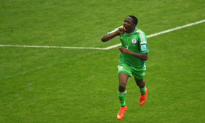 Ahmed Musa of Nigeria celebrates scoring his team's second goal and his second of the game during the 2014 FIFA World Cup Brazil Group F match between Nigeria and Argentina at Estadio Beira-Rio on June 25, 2014 in Porto Alegre, Brazil. (Quinn Rooney/Getty Images)