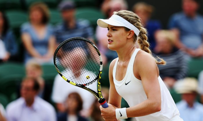 Eugenie Bouchard of Canada during her Ladies' Singles second round match against Silvia Soler-Espinosa of Spain on day four of the Wimbledon Lawn Tennis Championships at the All England Lawn Tennis and Croquet Club at Wimbledon on June 26, 2014 in London, England. (Photo by Matthew Stockman/Getty Images)
