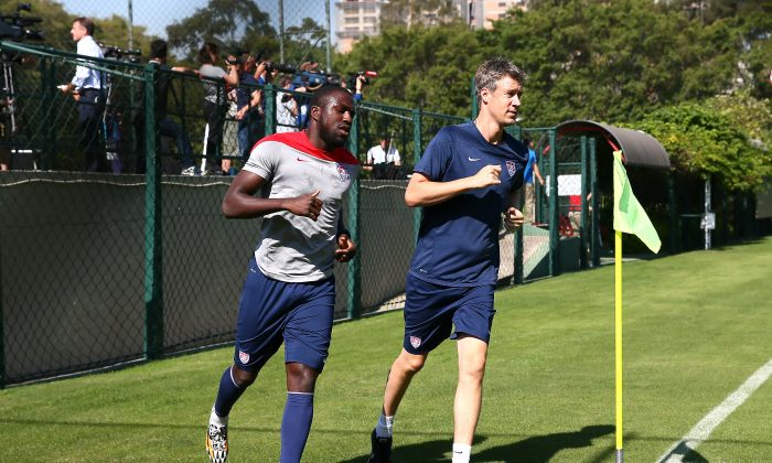 Jozy Altidore of the United States jogs around the pitch during training at Sao Paulo FC on June 27, 2014 in Sao Paulo, Brazil. (Kevin C. Cox/Getty Images)