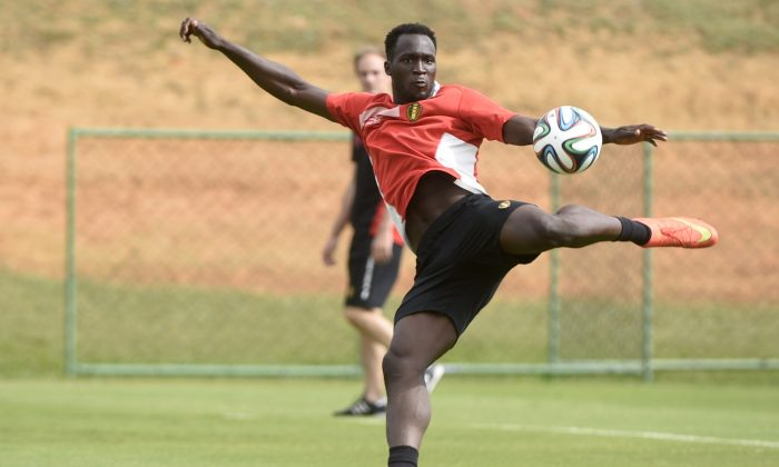 Belgium's forward Romelu Lukaku takes part in a training session in Mogi das Cruzes during the 2014 FIFA World Cup in Brazil on June 29, 2014 . (MARTIN BUREAU/AFP/Getty Images)
